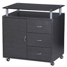 3-Drawer 1-Door Mobile Rolling File Cabinet Black Office Furniture Home