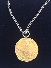"""Aureus Of Galba Coin WC23 Gold Made In  Pewter On 16"""" Silver Plated Necklace"""