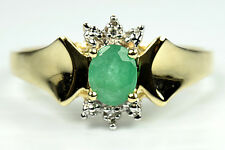 Women's Natural Emerald & Diamond .50 ct Gemstone Ring in 10k Solid Yellow Gold