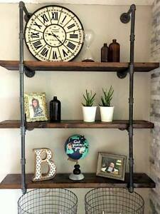 """3/4"""" Industrial Black Iron Pipe Shelf / Shelving (Lumber not Included)"""