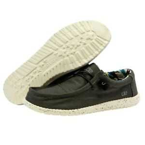 Hey Dude Wally Stretch Black Men's Shoes Lightweight Slip On Casual Shoes