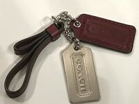 Coach FOB Charm Handbag Accessory Leather Pull&Tags Bordo Wine 🍷Red&Silver NWOT