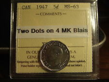 CANADA FIVE 5 CENTS 1947 2 DOTS on 4!!! Graded by ICCS MS-63 !!!