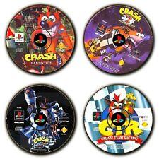 Crash Bandicoot PS1 - 1 2 3-Crash Team Racing-Disc Art-Coasters-Lot de 4