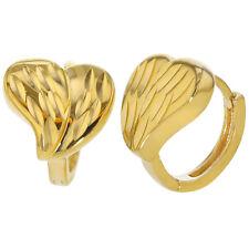 14k Gold Plated Textured Love Heart Small Hoop Huggie Earrings