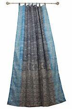 "96""L GRAY TURQUOISE Curtain SARI Curtain Bohemian Window Curtain bed canopy"