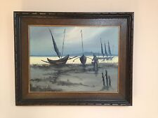 Philippino Listed Artist Cesar Buenaventura 1919-1983 Original Oil Fishing Boats
