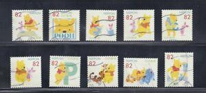 Japan 2017 Disney Winnie the Pooh Complete Used Set of 10 Sc# 4081 a-j 82Y