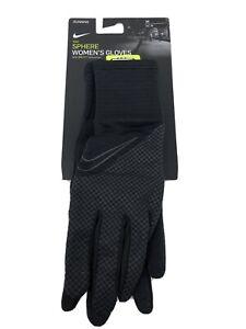 New Nike Medium Women's Running Outdoor Gloves Black Dri-Fit Touch Screen #77