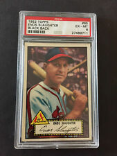 1952 TOPPS ENOS SLAUGHTER  PSA 6 CARD NO:65 BLACK BACK EXMINT CONDITION
