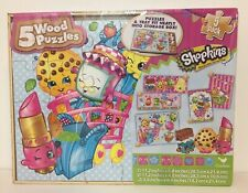 New Shopkins 5-Puzzle Pack Wood Puzzles 5-Pack And Tray Discontinued