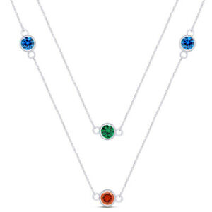925 Sterling Silver Multi Colour Simulated Diamond Station Necklace