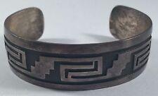 Vintage Southwestern Sterling Silver Square Spiral Pattern Bracelet Cuff