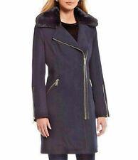 Michael Kors Women Coat Asymmetrical Navy Front Zip  Belt Wool Blend NWT