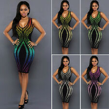Women Summer Sleeveless Bandage Bodycon Pencil Evening Party Cocktail Club Dress