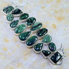 """Handmade Huge Zoisite Natural Crystal 925 Sterling Silver Bracelet 8.5"""" #G3850"""