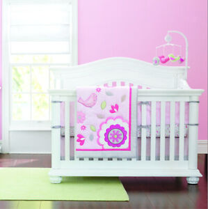 Baby Bedding Set 7pc Cot Crib Quilt PINK FLOWERS Sheet Bumpers Nappy Stacker