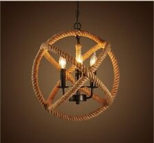 3-lights Hemp Rope Ball Chandelier Retro Country Style Hanging Island Pendant