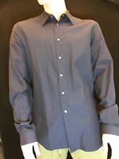"Paul Smith Men's Italian Tailored Long Sleeve Navy Shirt 16.5"" Gift"