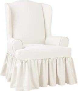 Essential Twill white Ruffled T-Cushion Wingback Slipcover