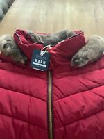 Joules Womens Gosway Chevron Quilt Padded Coat with Hood - RED SHOE Size 18