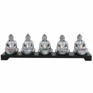 PORTACANDELE BUDDHA vintage in legno testa Budda giardino Zen porta candele da 5