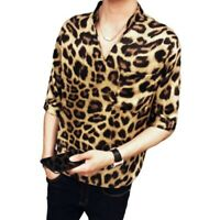 Men's Leopard print Half Sleeve Shirt V Neck Stand collar Club Party Blouses Tee