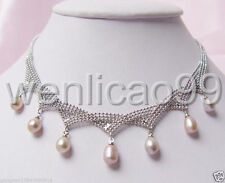 Exquisite 7-8MM White freshwater Cultured Pearl pendant Necklace