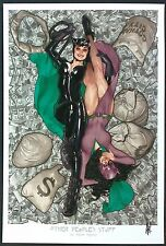 """CATWOMAN OTHER PEOPLES STUFF ART PRINT - SIGNED ADAM HUGHES 13""""x19"""""""