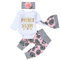 Infant Newborn Baby Girl Floral Outfit Bodysuit Long Pants Hat 4Pcs Clothes Set