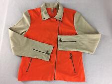 409 WST 38 Jacket Lightweight Stretch Asymmetrical Zipper Orange Beige Sz 14 NWT