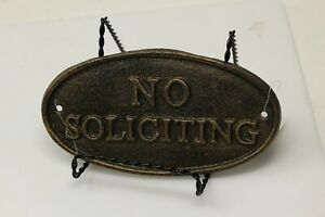 "New Cast Iron No Soliciting Oval Sign, 7"" X 4"""
