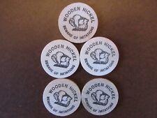 5 Vintage San Francisco Calif. Wooden Nickels (100th Anniversary Amaranth)