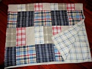 NAUTICA CHATHAM PATCHWORK BLUE KHAK GREEN RED PLAID (1) TWIN QUILT 66X80