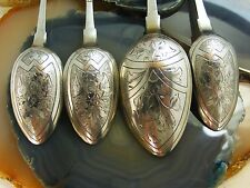Antique Russian 84 1880's Etched Silver FIDDLE SPOONS Matching Set Marker PA