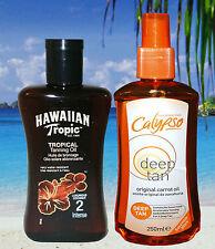 HAWAIIAN TROPIC SPF 2 & CALYPSO CARROT OIL SPF 0 TANNING LOTION SUN OIL TAN OIL