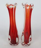 "Vintage Pair of Small Hand Blown Art Glass Red Swung Bud Vases - 8.5"" Tall"