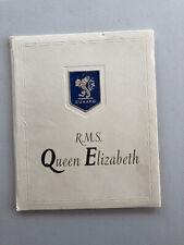 Cunard Line RMS Queen Elizabeth Color Photo Remembrance Booklet