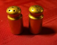 "ANTIQUE GOLD GILT ♡ 2"" TALL SALT AND PEPPER SHAKERS  ♡  MADE IN JAPAN"