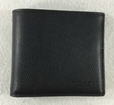 Coach F75084 Men's Double Billfold Wallet Sport Calf Leather Black NWT $150!