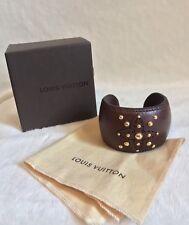 Louis Vuitton Brown Leather GOLD RIVET Cuff Bracelet, Size M