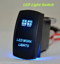 12V 20A 24V 10A Blue LED Backlit Car Working Light 5-Pin Laser Rocker Switch Kit