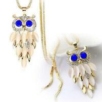 New Women Long Sweater Chain Fashion Crystal Rhinestone Owl Pendant Necklace