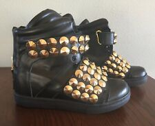 Suecomma Bonnie Sz 35 (US 5) Hidden Wedge Sneakers Black Leather With Gold Studs
