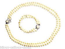 parure Collier et bracelet argenté Perle Marian fleur avec écrin bijou