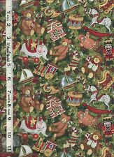 Merry Christmas Santa Packed Toys & Holly Fabric bty PRICE REDUCED
