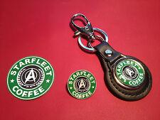 STAR TREK, `STARFLEET COFFEE` LEATHER KEY RING, BADGE &  FREE PHONE STICKER