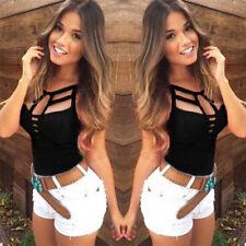 Sexy Women Summer V Neck Vest Top Sleeveless Blouse Tank Tops T-Shirt Casual HGU