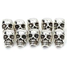 10pcs Tibet Silver Skull Loose Beads Big Hole for Bracelet Necklace Accessory