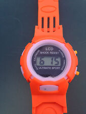 Orange Kids Girls Digital Wrist Watch Sports Date & Time Soft Band Shock Res LCD